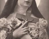 Saint Thérèse of Lisieux Religious Kitsch Original Vintage 1932 French Photo Postcard by P.C of Paris…Mystical Beautiful Woman with Crucifix