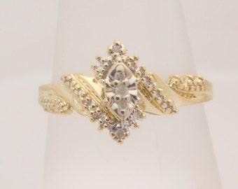 0.25 Carat T.W. Ladies Round Cut Diamond Cluster Engagement Ring 10K