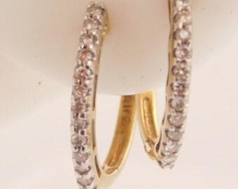 0.25 Carat T.W. Round Cut Diamond Hoop Earrings 10K