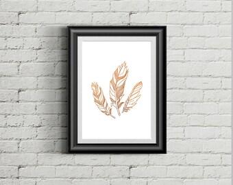 Feathers. Foil Print A4