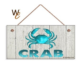 """ON SALE Blue CRAB Sign, Weathered Beach Wood Wall Hanging, Weatherproof, 5"""" x 10"""" Sign, Beach House, Ocean and Sea, Made To Order"""