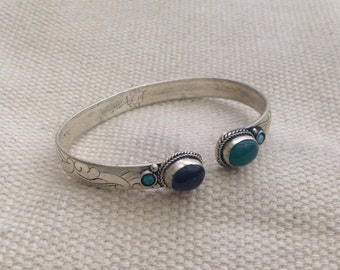 Elegant Turquoise Amethyst Dark Green Bloodstone Cuff Bracelet