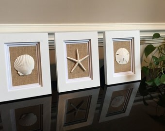 Burlap Beach Wall or Table Decor with shell, starfish, and sand dollar (Set of 3 - Frames Included)!