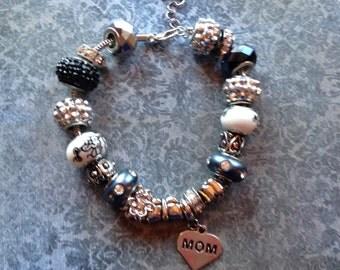 Mother's Day Bracelet,Jewelry, Bracelet, Big Hole Bracelet, Silver Bracelet, Gift For Her, Beaded Bracelet, Beadwork Bracelet, Beaded