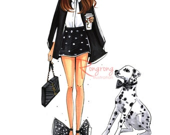 Dalmatian illustration,Fashion wall art,Fashion sketch,Chic wall art,Fashion print,Fashion poster. Titled,Me and my dalmatian