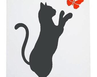 Stencil cat with butterflies