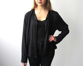 Gorgeous Vintage Black Beaded Blazer