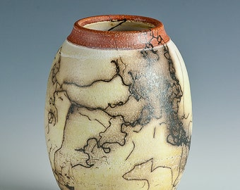 Horse Hair Raku Pottery, Terra Sigallata, Red, White, Black, Polished, Wheel Thrown, Hand Thrown, Made in Colorado