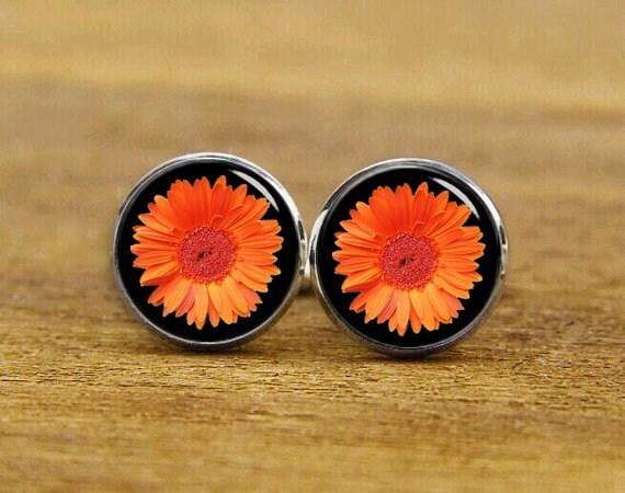 Orange Gerbera cuff links, custom any flowers, Gerbera Daisy cufflinks, custom wedding cufflinks, groom cufflinks, gerbera tie clips, gifts
