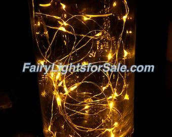 2m/6.6ft 1 set Yellow Gold Amber 20 LED fairy light string strand cr2032 button battery for DIY, centerpiece, vase, wedding, auspicious