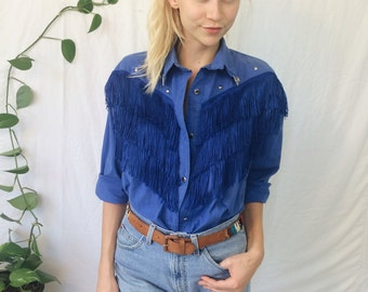 1980s Sassa FRINGE Western Shirt || CowGirl Rodeo SouthWestern Cobalt Blue Button Down Blouse Hipster Cobalt Blue