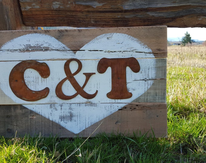 Rustic Heart Initial Sign, Wood Sign, Rustic Signs, Initial Established Date Signs, Wedding Gift, Initial Signs, Established Wood Signs