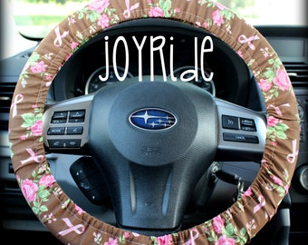 Steering Wheel Cover Breast Cancer Awareness Rose and Ribbons w/ Matching Keychain Option - Car Accessories