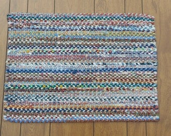 Scrappy Rectangular Twined Rag Rug