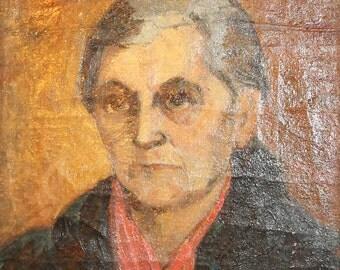 Woman Portrait Vintage Oil Painting Signed