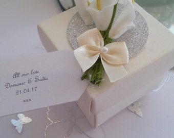 Personalised  Ivory wedding favour box chocolate filled and ready assembled