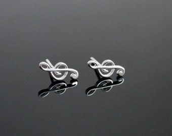 SALE! Sterling Silver 925 Tiny Earrings, Tiny Silver Post Earrings, Silver Studs, Note Earrings, Treble clef