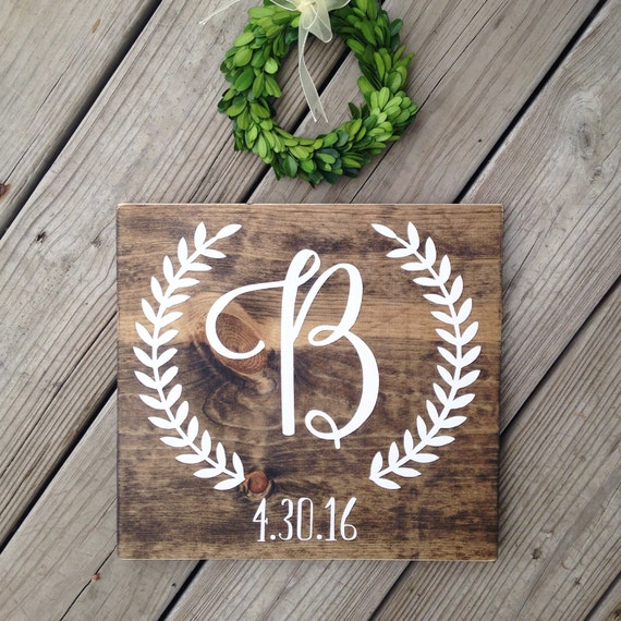 initial sign last name wood sign monogram sign last name
