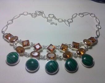 """Natural Malachite Gemstones Topaz Bib Statement Silver Necklace 20"""",65G"""