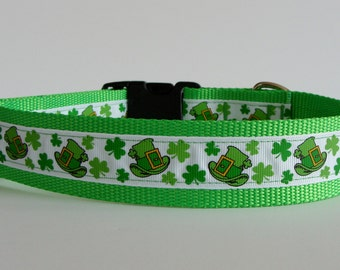 St. Patrick's Day Leprechaun Hat Large Dog Collar - READY TO SHIP!