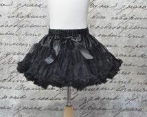 Baby Girls Ruffles Tutu Pettiskirt in Black. Black Pettiskirt. Ready to ship.