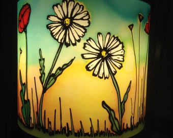 Daisy Poppy Field, Sunset Colours, Hand Silk Painted Lamp Shade, 20cm Drum, Made To Order.