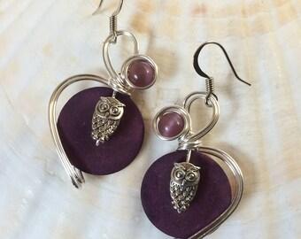 Owl Jewelry, Owl Earrings, Woodland Earrings, Bird Earrings, Bird Jewelry, Owl Drop Earrings, Bohemian Jewelry, Woodland Jewelry