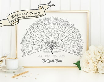 Ancestor & Genealogy Family Tree Fan Chart { 5 Generations } -- DIGITAL COPY ONLY
