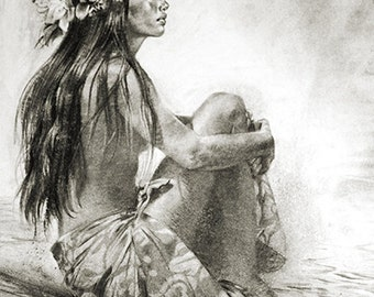 """Hula Girl Fine Art """"Tahitian Daydream"""" Island Collection by Phil Roberts"""