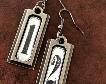 Steampunk Earrings, Number Plaque Earrings, Gunmetal Earrings, Rectangle Earrings, Steampunk Jewelry, Shabby Chic Earrings, Gunmetal Jewelry