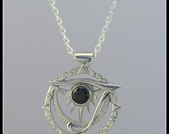 Horus eye silver necklace, silver egyptian necklace, spiritual jewelry, symbolic  jewelry, handmade jewelry, egytian symbol