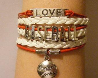 Baseball bracelet, baseball jewelry, sports bracelet, sports jewelry, fashion bracelet, fashion jewelry, leather baseball bracelet