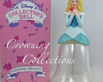 Disney Sleeping Beauty Collector's Crystal Bell Porcelain Figurine Princess Aurora 24% Lead Vintage Disney Parks Exclusive