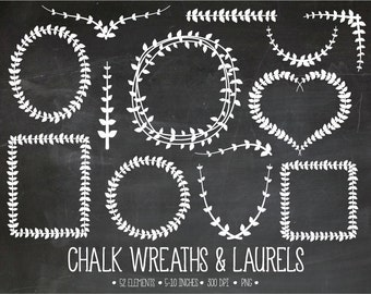 Chalk Wreaths & Laurels Clipart. Chalkboard Vine Frames, Laurel Borders Clip Art. White Leaf, Vine, Foliage, Branch Scrapbooking Clipart.