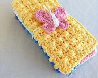 Crochet Spa/Wash Cloths, Set of 3, With Pink Butterfly