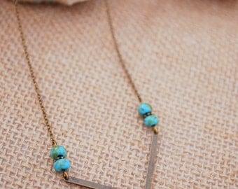 Turquoise beaded necklace, Arrow pendant, geometric delicate Jewelry, Tiny necklace, Everyday necklace