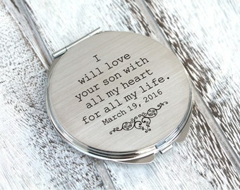 Personalized engraved pocket mirror | compact mirror | wedding gift | mother of the groom gift | today a groom