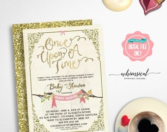 """Baby Shower Invitation """"Once Upon A Time"""" (Printable File Only) Fairytale Fairy Tale Storybook Castle Elegant Fun Faux-Gold Metallic Regal"""
