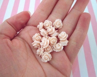 Baby Pink 10mm rose flower cabochons