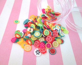 Polymer Clay Fruit Slices, Nail Art Slices, Faux Fruit, Miniature Fruit, E58