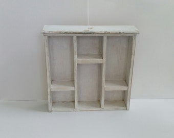 Shelf display unit upcycled from vintage drawer/ rustic/ whitewashed