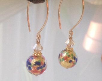 "Murano Glass ""Multi-Colour Dots in Gold"". Murano Jewelry. Boucles d'oreilles or.  Venetian Jewelry. Bijoux italiens.  Long Earrings"