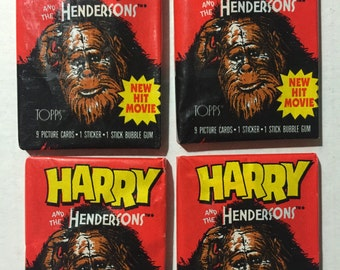 4 1987 vintage Topps Harry and the Hendersons wax packs trading cards stickers