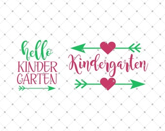 Kindergarten SVG Cut Files, School SVG, Hello Kindergarten svg cut files for Cricut, Silhouette and other Vinyl Cutters, svg files D2
