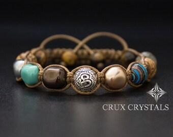 LIMITED EDITION Om Beaded Bracelet Womens Gemstone Shamballa Bracelet, Swarovski Pearls Wrap Bracelet, Namaste Yoga Bracelet, Mother's Day