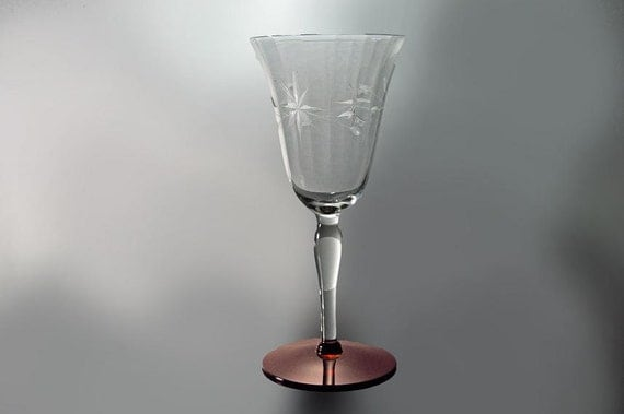 Wine Glass, Etched, Red Base, Star Flower and Vine Pattern