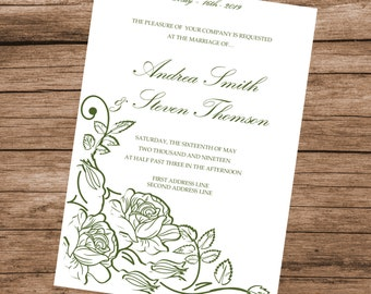 Printable Wedding Invitation Template, Green Roses Invitation Card, INSTANT DOWNLOAD, Editable Text & Colors, 5x7