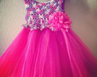 Crochet Dress with tulle Tutu - Tiana