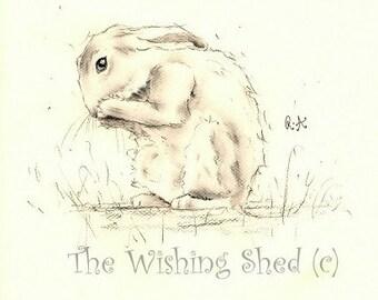 Charcoal Sketch - Bathtime!-  original Print - rabbit bunny hare loose contemporary artwork painting