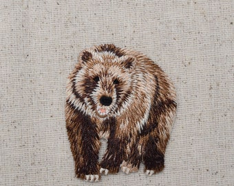 Brown Bear - Grizzly - Iron on Applique - Embroidered Patch - 155472A